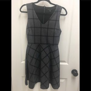 Banana Republic Gray & Black Fit & Flare Dress